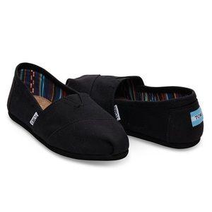 TOMS Classic Canvas Black Slip On Shoes